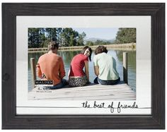 """Malden International Designs Rustic Woods Silkscreened Glass Floater """"The Best of Friends"""" Matted Picture Frame, 4x6/6x8, Black"""