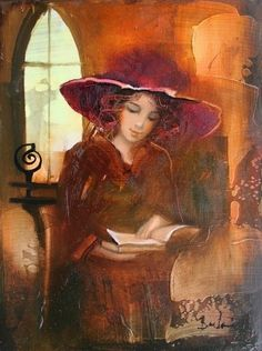 """""""The good, the admirable reader identifies himself not with the boy or the girl in the book, but with the mind that conceived and composed that book."""" - Vladmir Nabokov {via thomerama: Budai László"""" Reading Art, Woman Reading, I Love Reading, Reading Books, I Love Books, Good Books, Illustrations, Illustration Art, Books To Read For Women"""