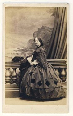 I think she must be the Queen of Diamonds!  >>1860's Day Dress with diamond shaped appliques on skirt, CDV