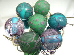 Moogin beads Turquoise and purple lampwork bead set von mooginmindy 20-21mm