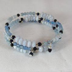Aquamarine and Chalcedony Memory Wire Bracelet/ Triple Strand Bracelet/ Handmade/ Hand Crafted by NellieAnneDesigns on Etsy