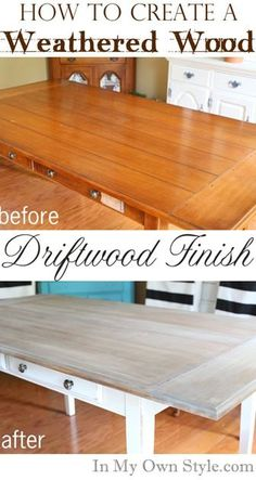 Furniture Makeover: Weathered Driftwood Furniture Finish - In My Own Style