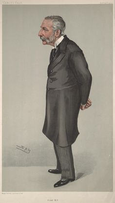 """Sir Richard Claverhouse Jebb.  """"Ajax MP"""". Caricature by Spy published in Vanity Fair in 1904."""