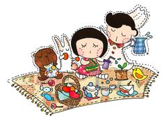 Fatina is having a lovely picnic in the park with her friends!