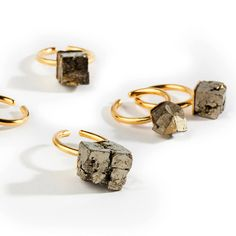 6166c7cddd3c Gold or Sterling Silver Stacking Rings, Pyrite Cube Statement ring,  Geometric Ring, Minimalist