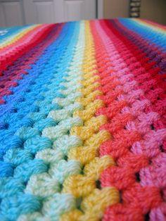 Granny stripe blanket progress.     THE COLORS O_O