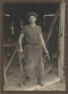 Les Darcy, Australian boxer and one of the best middleweights of all time, seen here as a blacksmith. He died of pneumonia at age 22. (State Library of New South Wales