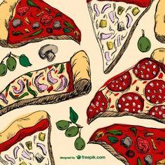 Dibujo de porciones de pizza