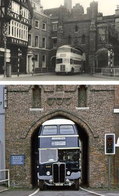 Bus specially designed to fit through the North Bar Gate of Beverley, East Yorkshire, UK. 1950s