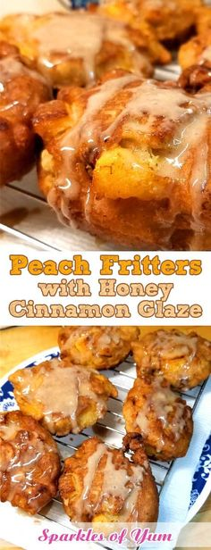 Peach Fritters with Honey Cinnamon Glaze Peach Fritters with Honey Cinnamon Glaze – When fresh peaches are at the farmers market, and it's too damn hot to turn the oven on, you make Peach Fritters with Honey Cinnamon Glaze! Peach Recipes Breakfast, Fresh Peach Recipes, Honey Recipes, Fruit Recipes, Brunch Recipes, Breakfast Dessert, Cooking Recipes, Cooking Games, Recipes With Peaches