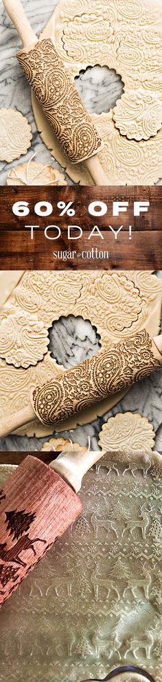 Get into the festive spirit with these gorgeous print rolling pins! The perfect baking tool for cooking with kids! Made from ecologically friendly natural wood. Christmas Moose, Christmas Goodies, Christmas Desserts, Christmas Treats, Christmas Cakes, Xmas, Cupcakes, Cupcake Cookies, Sugar Cookies