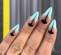 Distinctive Deisgn Related posts: Lovely dark red nails design for almond shape nails Mix nail design for almond nail shape. Are you a fan of almond nails shape? T … 45 Pointy Almond Nail Designs Worth Trying Fabulous Nails, Gorgeous Nails, Negative Space Nails, Nailed It, Almond Nails Designs, Almond Shaped Nail Designs, Black Nail Art, Black And Blue Nails, White Nails