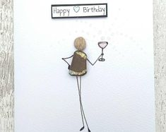 Birthday card- Pebble Art - Stick man/Woman- prosecco Champagne bubbles card Birthday Wishes