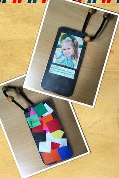 Vaderdag selfie telefoon boekenlegger/hanger. Met What's app tekst. Laat de kinderen zelf een selfie maken met de iPad op de telefoon. Print. Maak een printscreen van een What's app tekst. Bijsnijden en uitknippen. Plak dit allemaal op een zwart karton in de vorm van een telefoon. De achterkant kunnen de kinderen versieren. Daarna lamineren. Maak met een perforator een gaatje in de hoek. Hierdoor een chenille draad met of zonder kraaltjes. En klaar is je eigentijdse vaderdagcadeautje