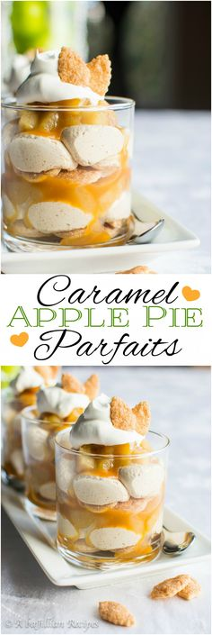 caramel-apple-pie-parfaits-abajillianrecipes-com - Layers of cinnamon sugar pie crust, homemade apple pie filling, rich caramel, and cinnamon-spiced cream filling–An American classic transformed into a parfait!