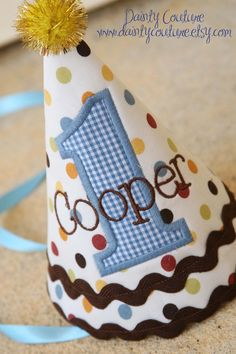 First Birthday Hat - Brown, blue, red, and yellow - Polka dots and gingham - Free personalization