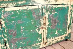 Antique Industrial Wood Metal Chippy Yellow Green Sideboard Media Console Window Bench
