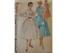1950's Simplicity 1160 Misses One Piece Dress Vintage Sewing Pattern Size 16 by ThisOldPattern on Etsy