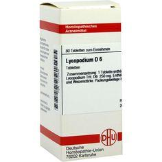 LYCOPODIUM D 6 Tabletten:   Packungsinhalt: 80 St Tabletten PZN: 01777475 Hersteller: DHU-Arzneimittel GmbH & Co. KG Preis: 5,95 EUR…