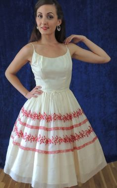 50s White Red Chiffon Prom Dress/Full Skirt by AddOneVintage, $223.97