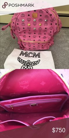 MCM pink backpack.   Price Drop! Medium size pink MCM backpack with pink iconic teardrop.  Practically brand new. Carried only once. MCM Bags Backpacks