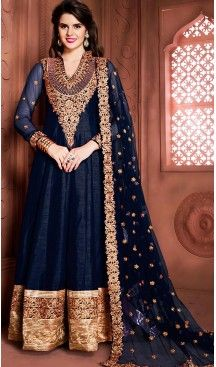 Navy Blue Color Silk Long Anarkali Style Churidar Kameez | FH499276407 #anarkali , #salwar , #kameez , #dresses , #suits , #designer , #colors , #pinterest , #Shopping , #fashion , #boutique , #online , #heenastyle , #indian , #style , @heenastyle , #churidar , #likes , #abaya , #pakistani, #clothing , #womens , #mens , #kids , #boys , #girls