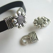 5 Sets Antique Silver Carved Stripe Sunflower Shaped Bracelet Clasp Hook Fit 10*2mm Flat Leather Cord Jewelry Findings(China (Mainland))