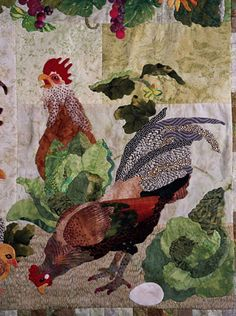 Block 3 - Maggie Walker Design 3 Buck Run Drive, Elverson, PA Chicken Quilt, Chicken Art, Wool Quilts, Applique Quilts, Quilting Projects, Quilting Designs, Chicken Pattern, Farm Quilt, Rooster Art
