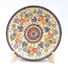 """Polish Pottery - 10"""" Dinner Plate - Balloon Flowers   The Polish Pottery Outlet"""