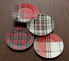 Plaid is cozy, relaxed and ideal for the holiday season. Layer our Plaid Salad Plates with solid white or colorful dinnerware to set a table that is truly welcoming. Pottery Barn Christmas, Plaid Christmas, Rustic Christmas, Cabin Christmas, Christmas Plates, Christmas 2015, Tartan Decor, Tartan Plaid, Dinner Plate Sets
