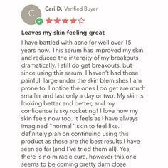 Marisa Arredondo, A happy customer is the greatest advertisement. Cari D. writes about her amazing experience with PHACE BIOACTIVE's Clarifying Serum. #thephacelife #ph #phbalance #beauty #clearskin #healthyskin #pure #glow #health #wellness #acne #antiaging #selflove #detox #mindfulness #lifestyle #skin #skincare #natural #confidence #happiness #gratitude