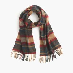 English Lambswool Scarf in Camel Red Blue (J Crew)