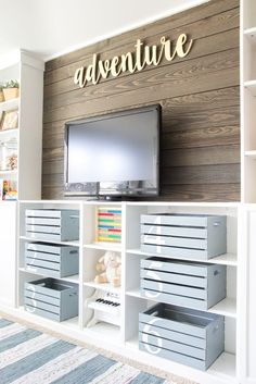 Eclectic Farmhouse Playroom Reveal & ORC Week 6 - Bless'er House. Wood crates purchased from Joann's or Michaels., Sprayed Rustoleum Winter Gray.