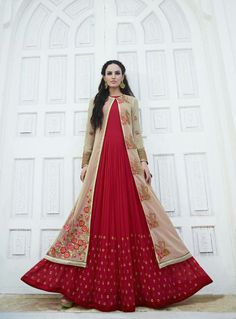 Red Georgette Floor Length Anarkali Suit With Jacket 82743