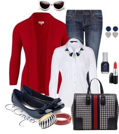 """""""Blue White & Red"""" by ccroquer ❤ liked on Polyvore"""