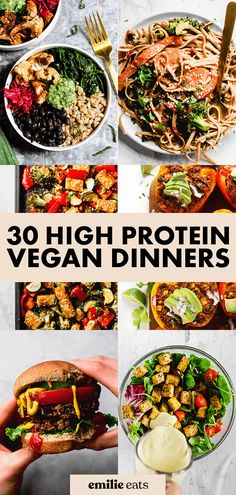 Looking for plant-based dinner ideas? Try some of these 30 High Protein Vegan Dinner Recipes to keep you satisfied and find your new go-to weeknight meals. #highprotein #vegandinners High Protein Dinner, High Protein Meal Prep, High Protein Vegetarian Recipes, Vegan Recipes Plant Based, Vegetarian Recipes Dinner, Vegan Dinners, Vegan Recipes Easy, Plant Based Dinner Recipes, Plant Based Meals