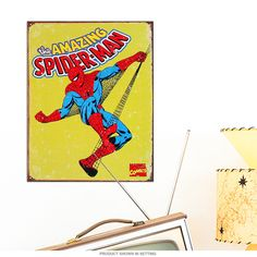 Spider-Man Swinging Marvel Comics Metal Sign | Superhero Signs | RetroPlanet.com