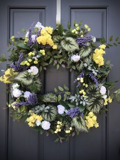 Spring Wreath Spring Door Wreaths Purple Yellow White Wreaths New Home Gift Housewarming Gift Birthday Mothers Day Gift Spring Decor Purple Yellow, Shades Of Purple, White Wreath, Floral Wreath, Spring Door Wreaths, New Home Gifts, House Warming, Birthday Gifts, Grapevine Wreath