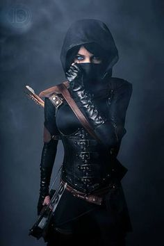 Artemis hinting outfit, she only wears this when she hunts with the winchesters and cas, she is armed with a cross bow and arrows much like the gun the colt that can kill anything, hey guess it pays to be lucifers favorite niece