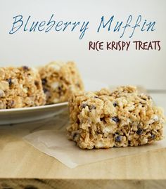 Blueberry Muffin Rice Krispy Treats - not very good, maybe will try again with a different brand of muffin mix, but prob not anytime soon ~ leah Rice Krispy Treats Recipe, Rice Crispy Treats, Krispie Treats, Rice Krispies, Cereal Treats, No Bake Treats, Yummy Treats, Sweet Treats, Cereal Bars