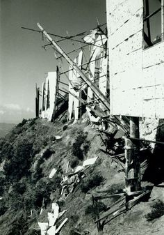 Historic Photograph of Hollywood Sign In Disrepair