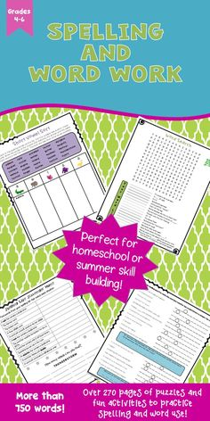 Great for homeschool or for extra practice over the summer! Spelling and word work puzzles and activities that give many opportunities to practice the spelling and meaning of the words in a variety of ways. Over 270 pages that give ample practice for more than 750 words. Fun practice for ESL students also!