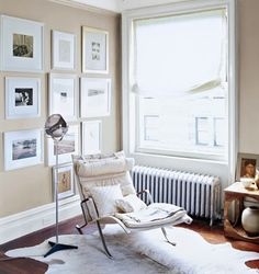 """neutral paint colors: """"veil cream"""" with """"snowfall white"""" trim by benjamin moore   corbusier chaise"""