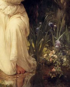 Detail of A Nymph in the Forest by Charles Amable Lenoir.
