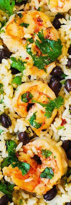 Cilantro-Lime Black Bean Shrimp and Rice - healthy gluten free recipe.