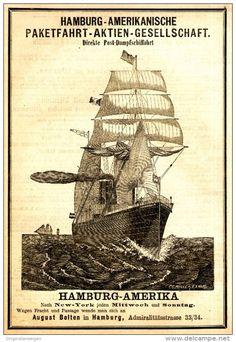 Original-Werbung/ Anzeige 1884 - HAMBURG-AMERIKA / NEW YORK / PAKETFAHRT…