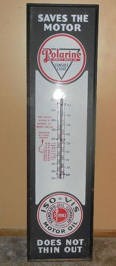 """Polarine Motor Oil Antique Thermometer (Old Vintage Porcelain Standard Oil Company 74"""" Tall Advertising Sign, """"Saves the Motor Oil, Does Not Thin Out"""")"""