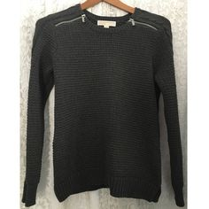 Michael Kors knit sweater (med) Michael Kors knit sweater with silver zipper shoulder detail. Size Med (could also fit a small) 60% cotton 40% polyester, Nice clean and cared for condition, very very gently worn and washed Michael Kors Sweaters Crew & Scoop Necks