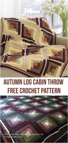 Autumn Log Cabin Throw Free Crochet Pattern #freecrochetpatterns #crochetaddict #square #homedecorideas