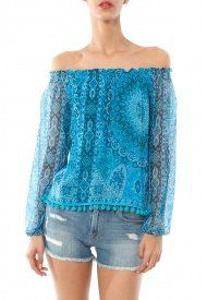 Chaser Printed Pom Pom Peasant Blouse in Blue Mandala